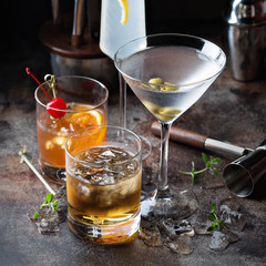 Variety of alcoholic cocktails