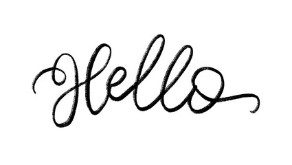 Hello. Hand Lettering word. Handwritten modern brush typography sign. Black and white. Vector illustration