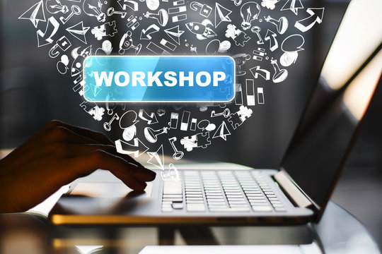 Social media, workshop and network concept