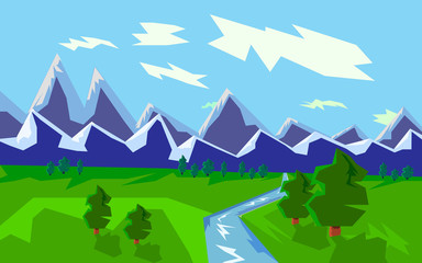 Mountain landscape with river, graphic illustration