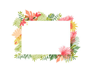 Hand drawn tropical flower composition, botanical framing. Vector illustration isolated on white background. Floral jungle frame, exotic plant leaf framework, lets flamingle