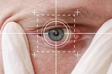 Eye monitoring virtual reality health digital care.