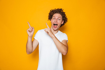 Portrait of an excited curly haired man