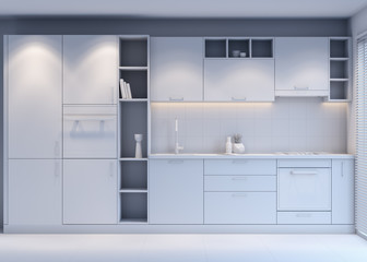 Gray Kitchen design with modern style , 3D Rendering