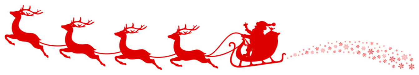 Fototapete - Christmas Sleigh Santa & Flying Reindeers Swirl Red