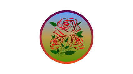 A rose flower. Round sign with rose flower, emblem, place for inscription.