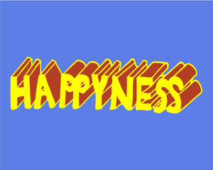 """Hand illustration of three-dimensional happiness (with """"y"""") red and yellow on blue background. Poster, postcard, banner, bags, clothes, card."""