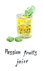 Passion fruit juice in glass with mint leaves