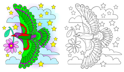 Colorful and black and white pattern for coloring. Drawing of fantasy flying bird. Worksheet for children and adults. Vector image.