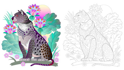Colorful and black and white pattern for coloring. Drawing of black leopard in fantasy tropical environment. Worksheet for children and adults. Vector image.