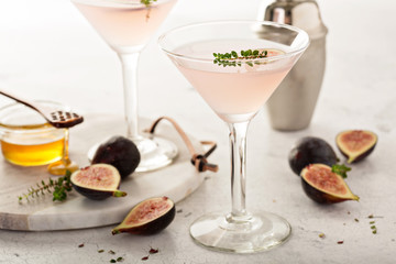 Fall cocktail, fig syrup and honey martini