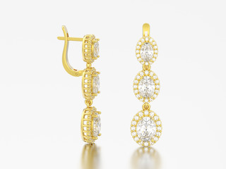 3D illustration jewelry yellow gold diamond earrings with hinged lock