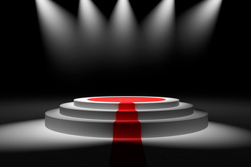 stage withred carpetand  spot light,3d render