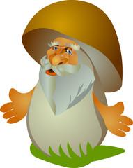 Cartoon vector fairytale old man-mushroom isolated on white