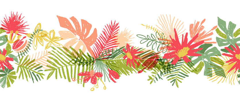 Tropical flower hand drawn border, vector illustration isolated on white background. Floral bouquet, exotic plant leaf, doodle style