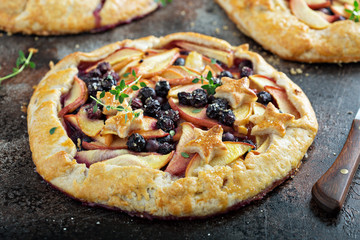 Summer galette with peaches and blueberries