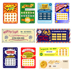 Lottery ticket vector lucky bingo card win chance lotto game jackpot set illustration lottery gaming tickets isolated on white background