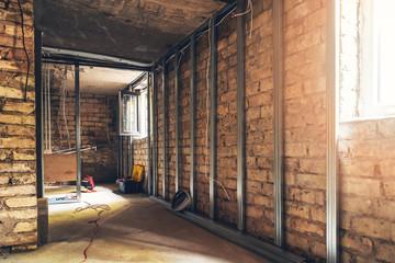 Fototapeta old basement renovation in process