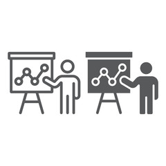 Presentation line and glyph icon, education and seminar, teacher sign, vector graphics, a linear pattern on a white background, eps 10.