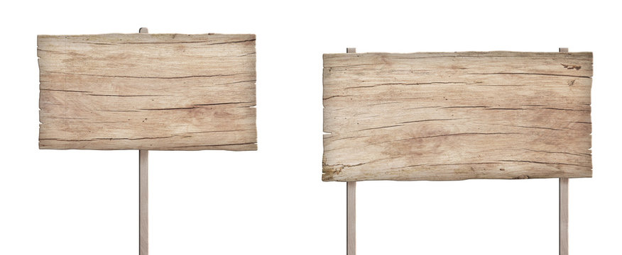 old weathered light wood sign isolated on white background 4