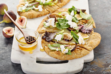Fall flatbread pizza with fresh figs and goat cheese