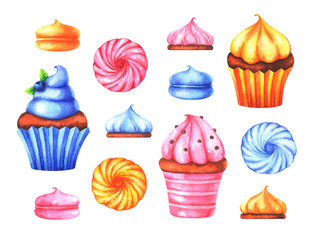 Hand painted set of watercolor colorful marshmallows and muffins isolated on white background