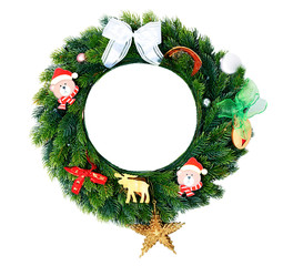 Christmas wreath with decorations isolated.