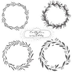 Set of hand drawn vector wreaths