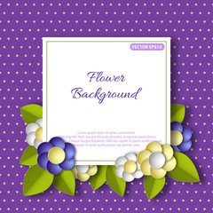 Banner with 3d flowers. For invitation or greeting card. Vector illustration