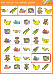 How often can you find these patterns? - Worksheet for education.