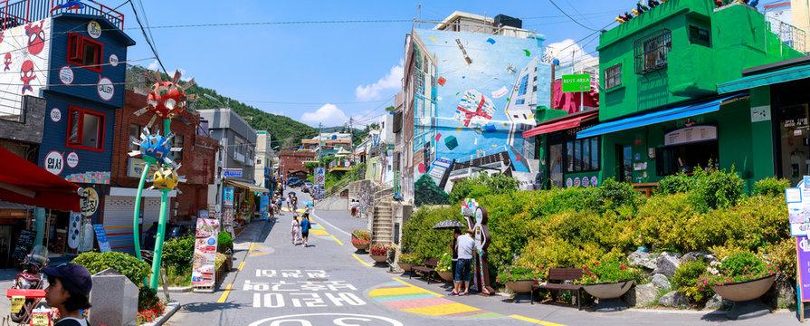Gamcheon Culture Village scene located in Busan city of South Korea