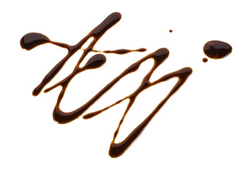 Sweet chocolate sauce isolated on a white background