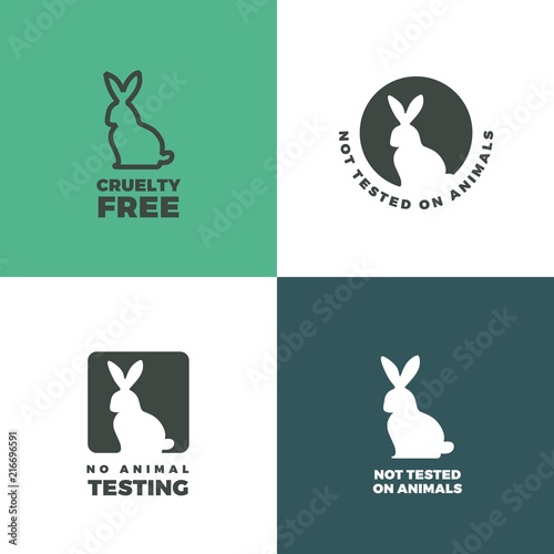 Set Of Icons With A Rabbit As A Symbol Of Animal Cruelty Free Bunny