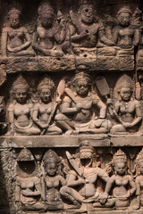 Temple wall carvings, Angkor Thom, Siem Reap, Cambodia