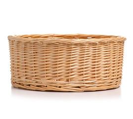 Obraz Wicker basket empty on white background isolation - fototapety do salonu