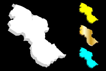 3D map of Guyana (Co-operative Republic of Guyana) - white, yellow, blue, and gold - vector illustration