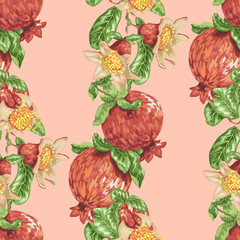 Seamless pattern with vertical pomegranate fruit branches in vector