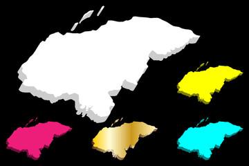 3D map of Honduras (Republic of Honduras, Spanish Honduras) - white, yellow, purple, blue and gold - vector illustration
