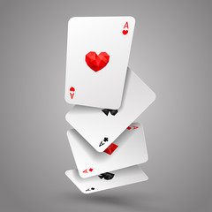 Set of four ace playing cards fly or falling. Winning poker hand. JPG include isolated path
