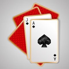Jack and ace of spades in five playing card. Poker hand, blackjack. JPG include isolated path