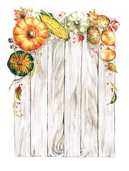 Foto op Plexiglas Waterverf Illustraties Autumn Vegetables. Watercolor Illustrations.