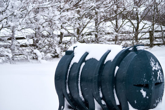 Kerosene tank covered in snow in Ireland