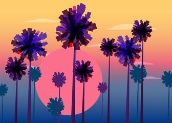 Tropical sunrise at seashore, sea landscape with palms, sailing boat minimalistic illustration. Seascape sunrise or sunset. Ocean scene with rising sun, palms, sailboat, mountains and sky. Rocky coast