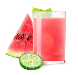 Isolated refreshment. Glass of watermelon and cucumber cocktail and pieces of fruits isolated on white background with clipping path