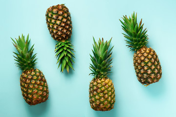 Bright pineapple pattern for minimal style. Top View. Pop art design, creative concept. Copy Space....
