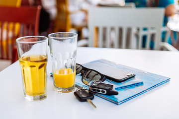 two glass of cool drinks on cafe table