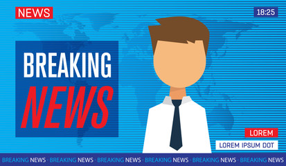 newscaster man reporting tv news sitting in a studio, breaking news on tv, flat vector illustration