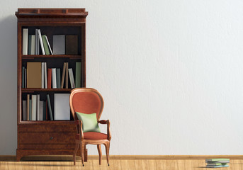 Classic interior with bookcase and chair. Wall mock up. 3d illustration.
