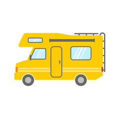 Camper | yellow vector icon