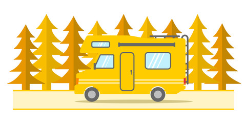Camper | vector with yellow landscape